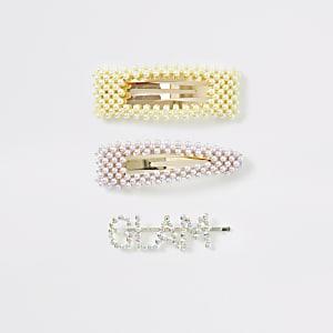 Lot de barrettesdorées avec perles et« Glam »