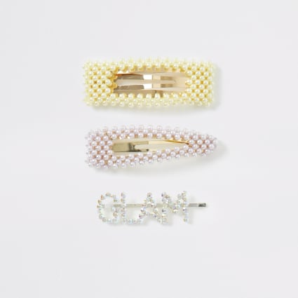 Gold colour pearl and 'Glam' clip pack