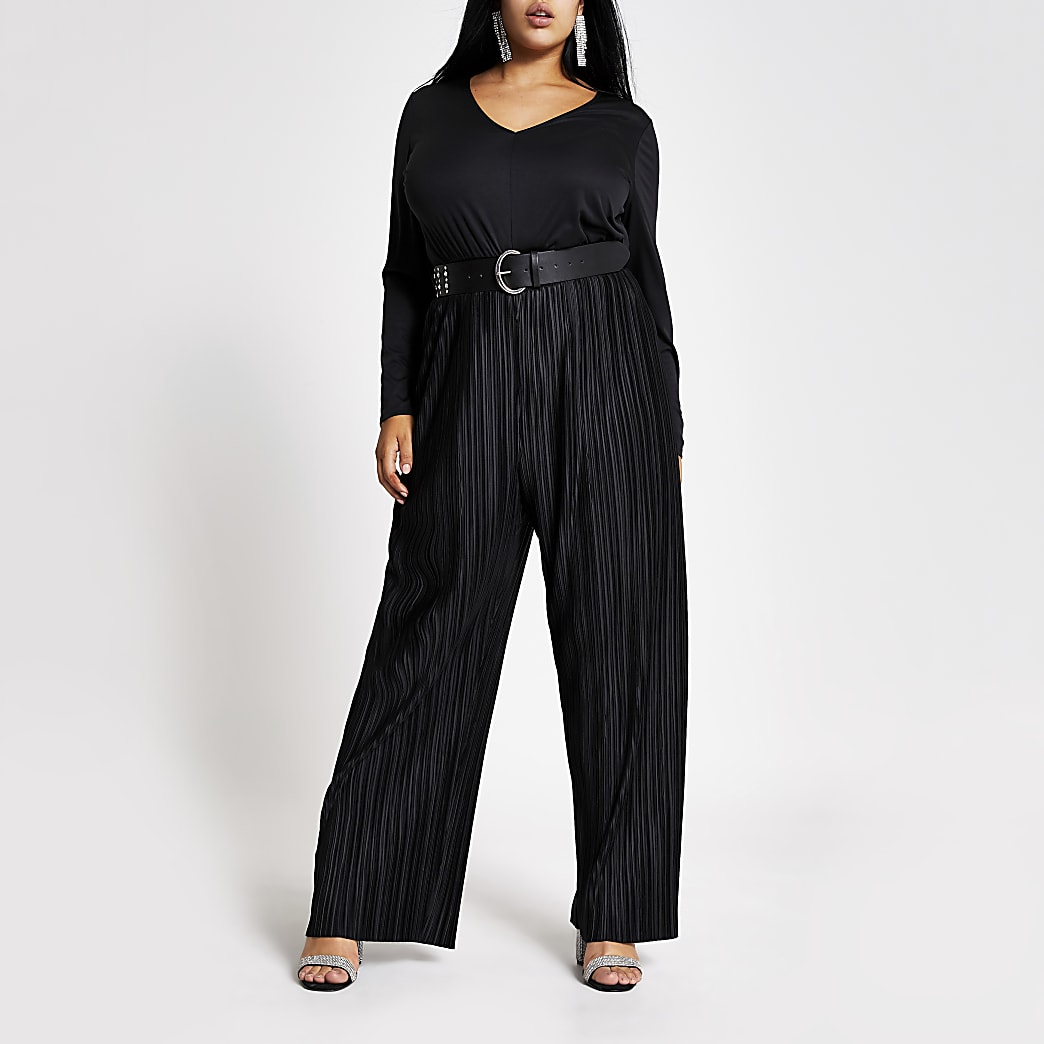 Plus black plisse long sleeve jumpsuit