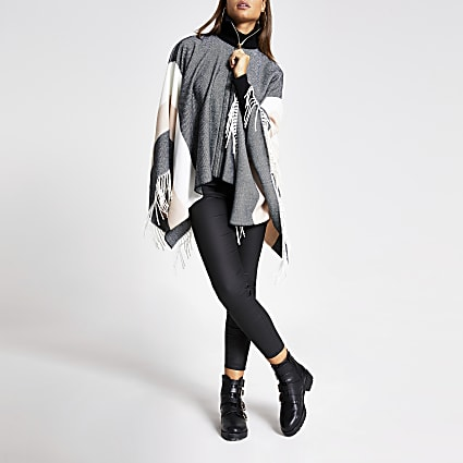 Grey check high neck zip front cape