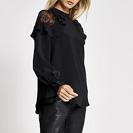 Black long sleeve lace frill shoulder top