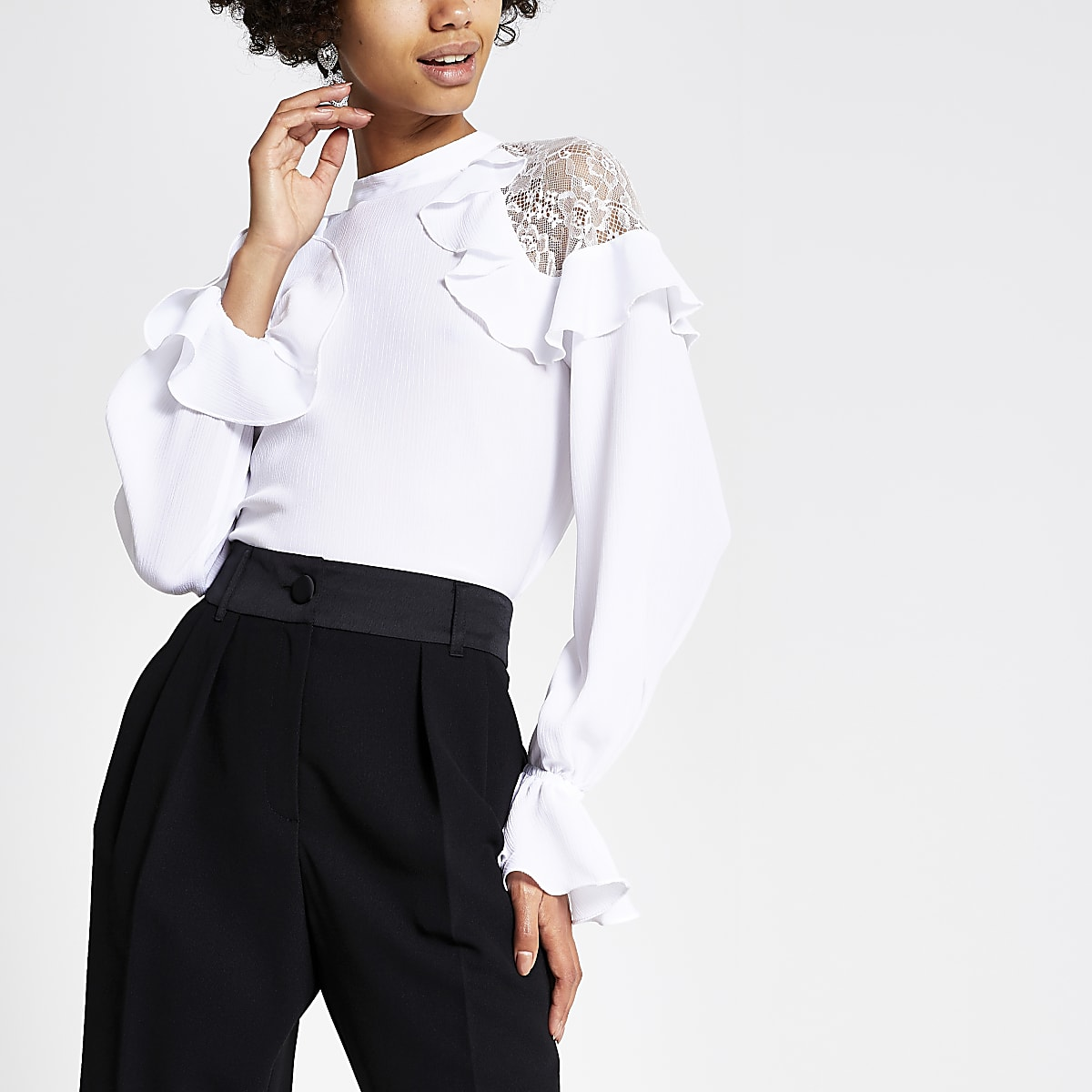 White long sleeve lace frill top