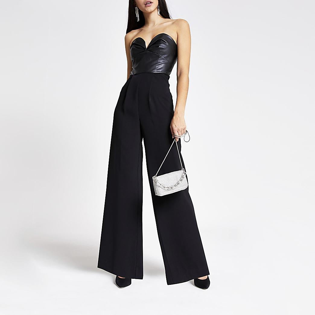 Black faux leather panel bardot jumpsuit
