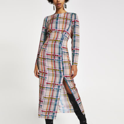 Pink check long sleeve midi dress
