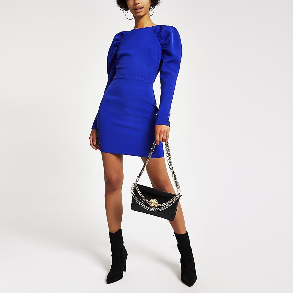 Mini-robe moulante bleue foncéeà manches longues