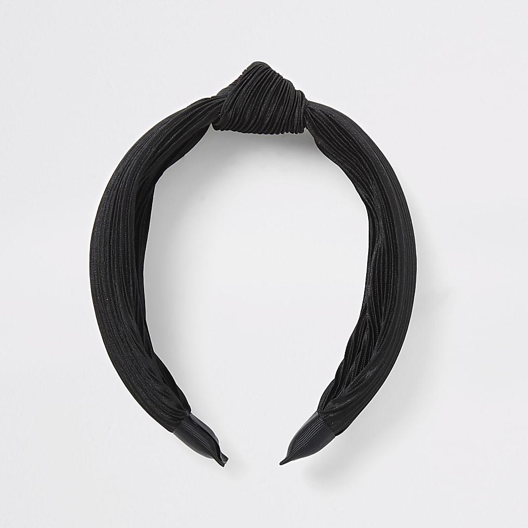 Serre-tête noir noué plissé