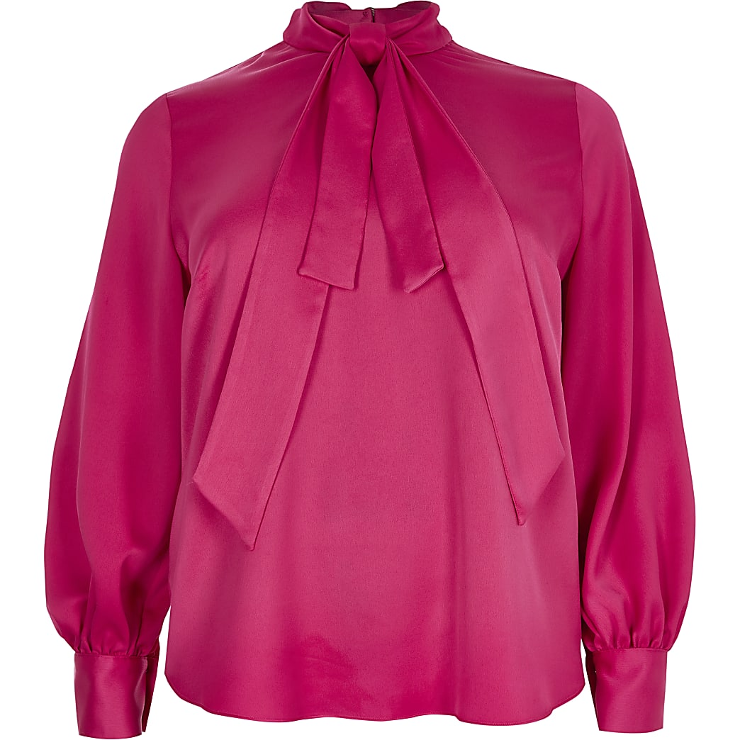 Plus pink long sleeve bow neck top