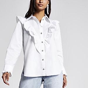 Petite – Weiße, langärmelige Bluse mit Brustlatz-Design und Rüschen
