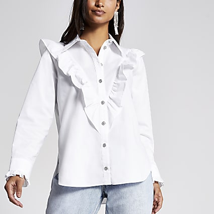 Petite white frill bib long sleeve shirt
