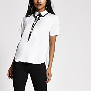 Petite white contrast bow collar top