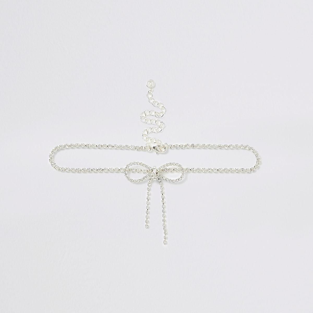 Silver color diamante bow choker necklace