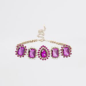 Pink diamante jewel ornate choker