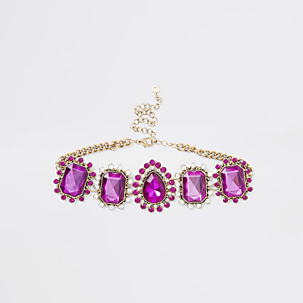 Pink diamante jewel ornate choker