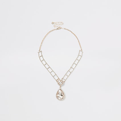 Rose gold colour diamante drop necklace