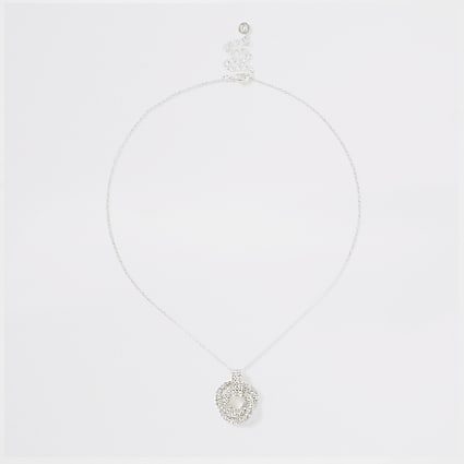Silver colour diamante twist pendant necklace