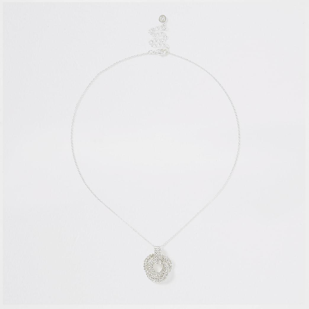 Silver colour diamante twist pendant necklace