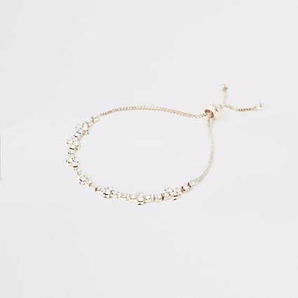 Rose gold colour diamante cluster bracelet