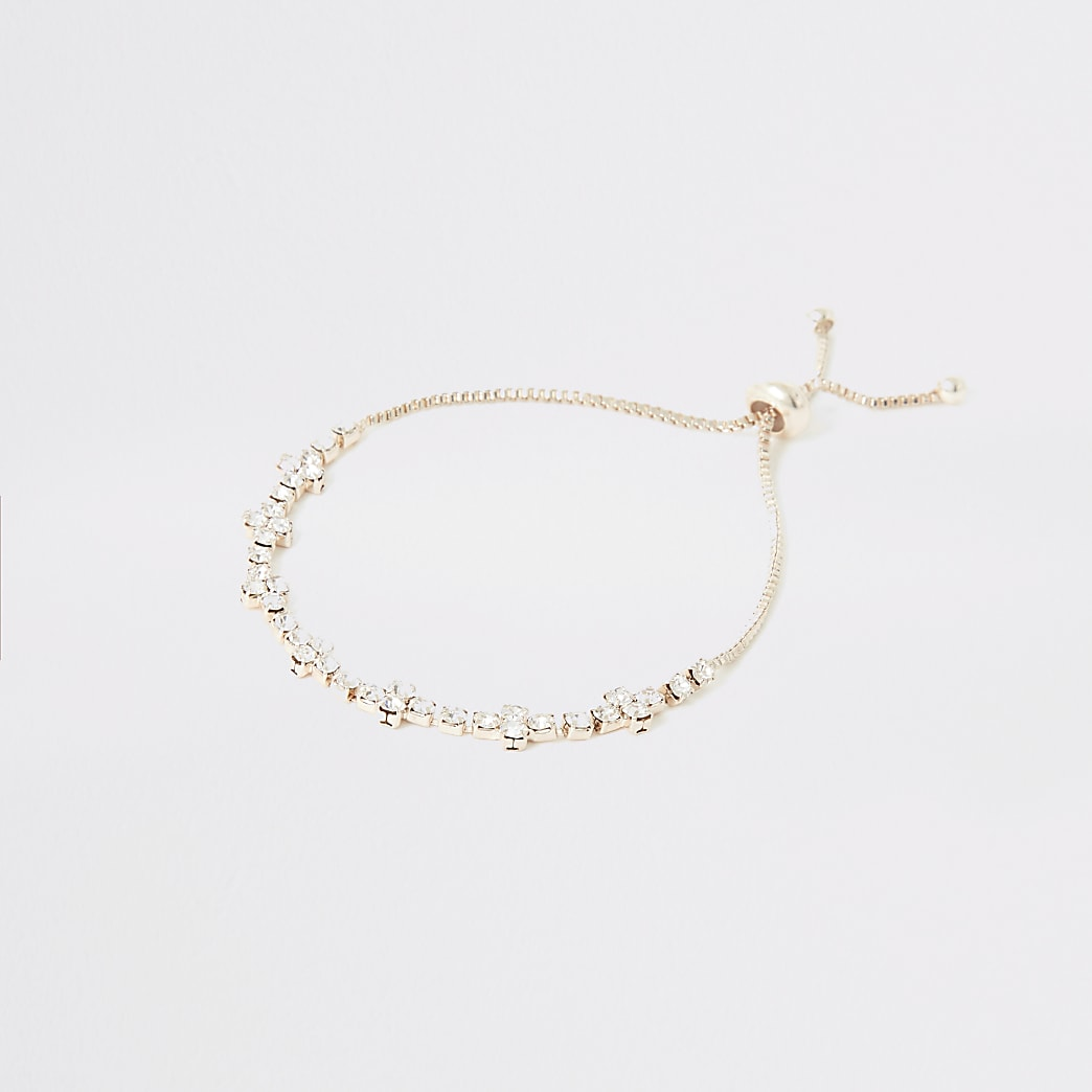 Rose gold colour diamante cluster bracelet