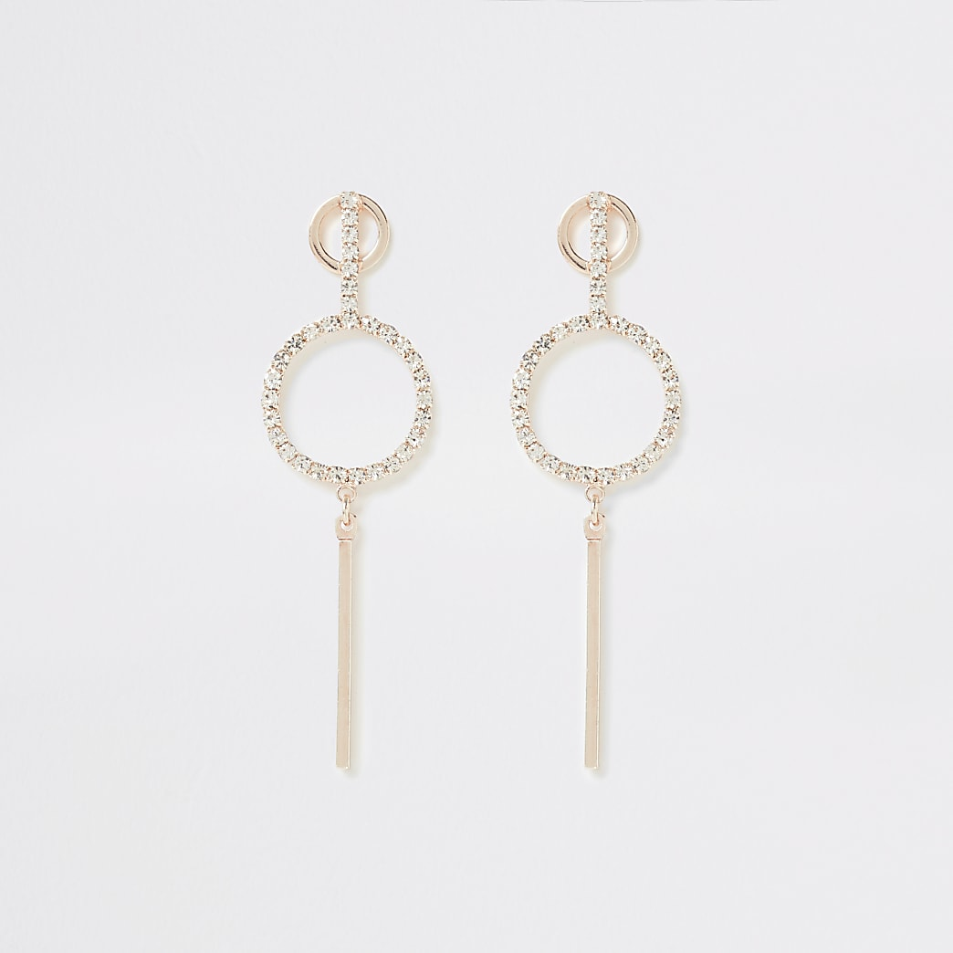 Rose gold colour diamante pave drop earrings