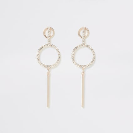 Rose gold diamante paved bar drop earrings
