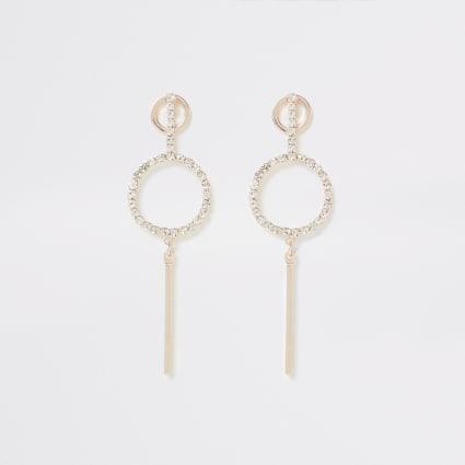 Rose gold diamante paved bar drop earrings
