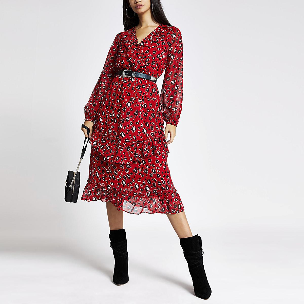 Red leopard print frill wrap dress