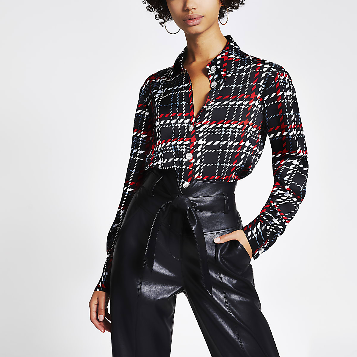 Black check long sleeve boyfriend shirt