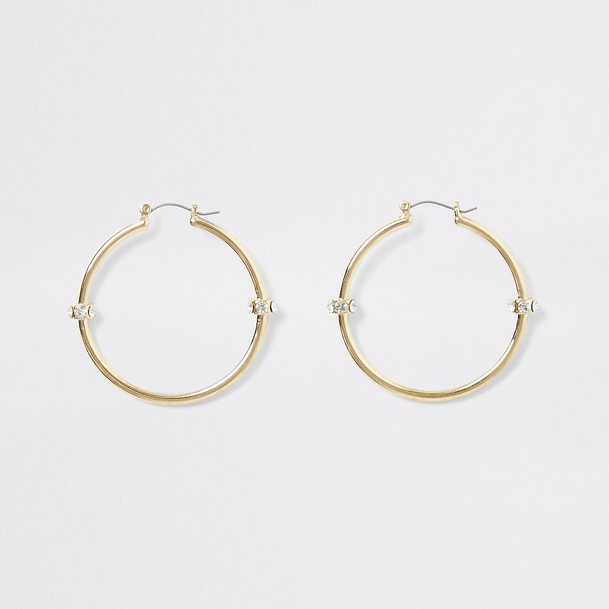 Gold colour diamante bead hoop earrings