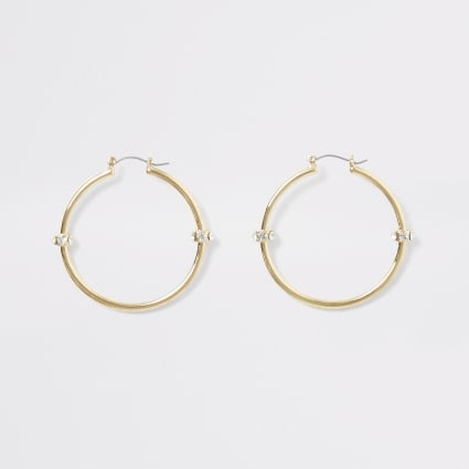 Gold colour diamante bead hoop earrings