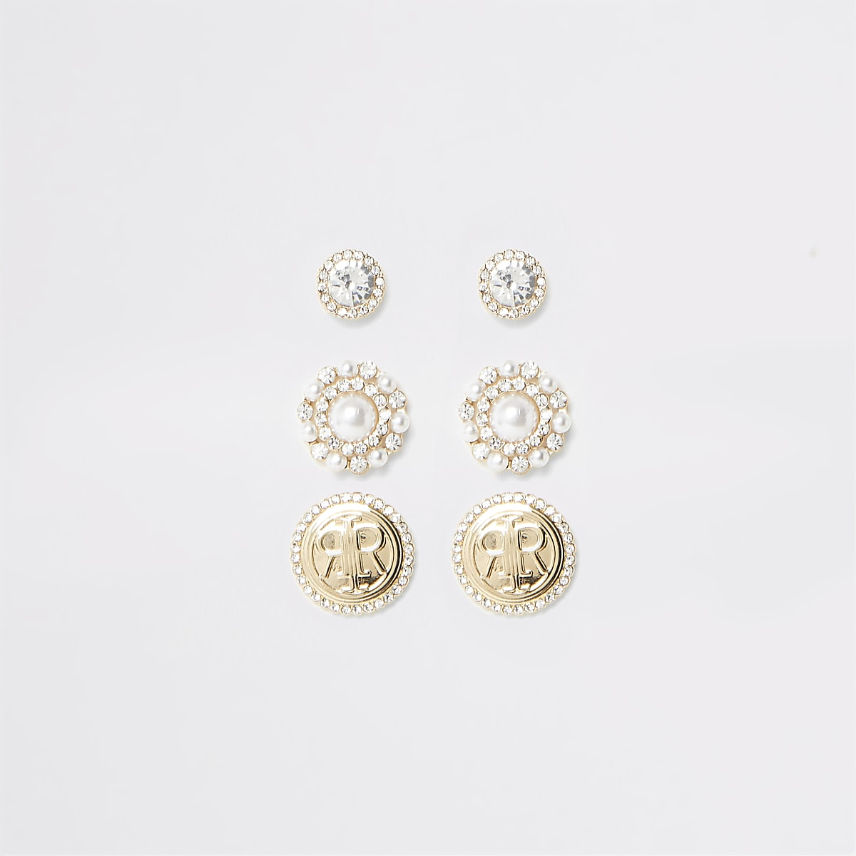 Gold colour pearl RI stud earring multipack
