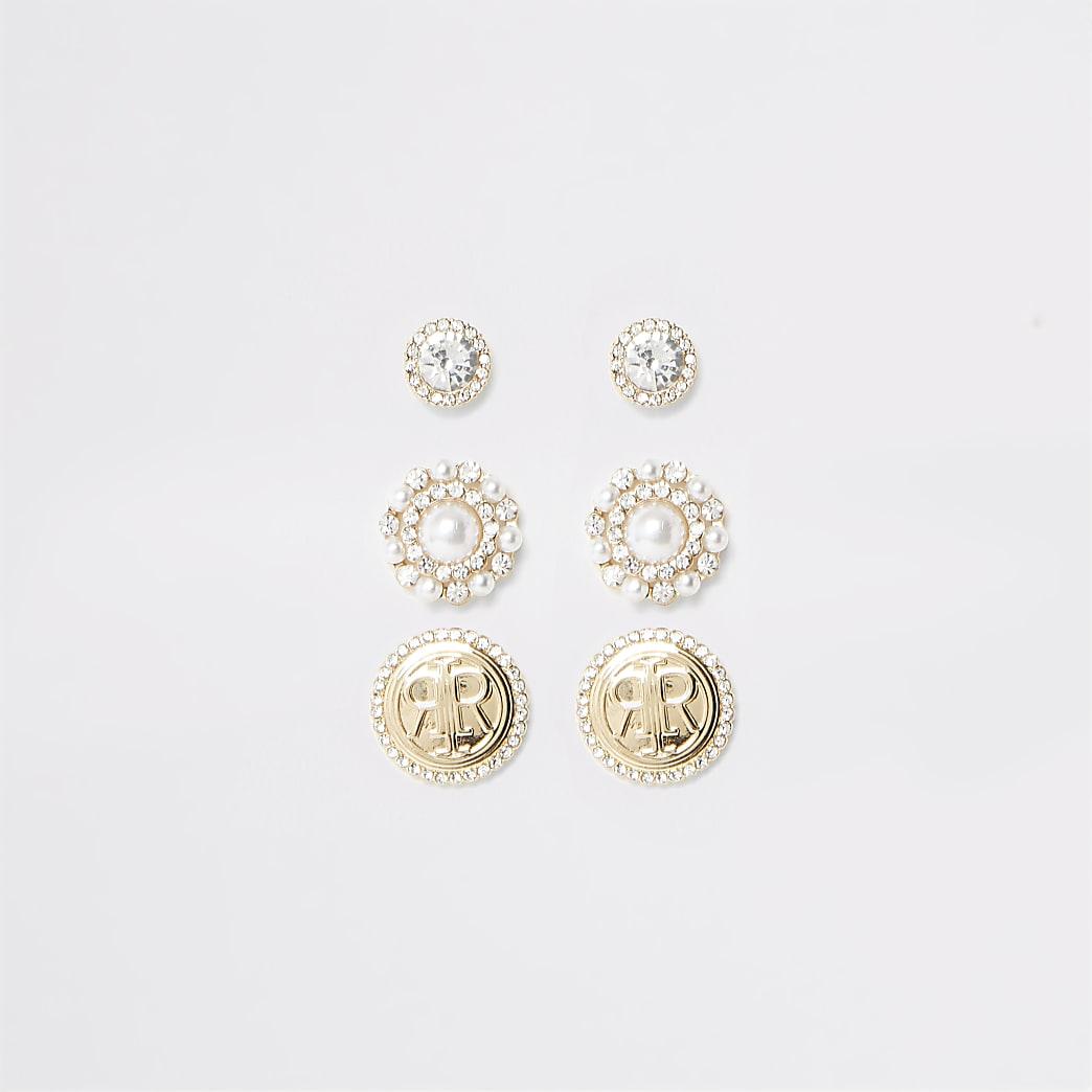 Gold colour pearl RI stud earring multipack
