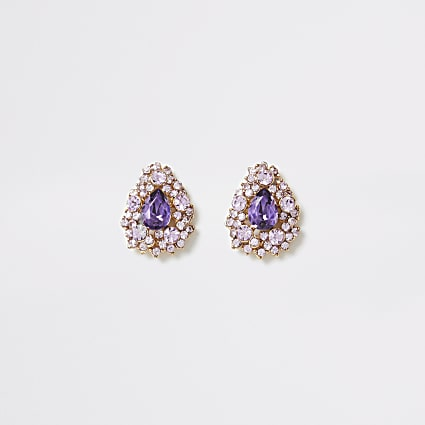 Pink diamante teardrop stud earrings
