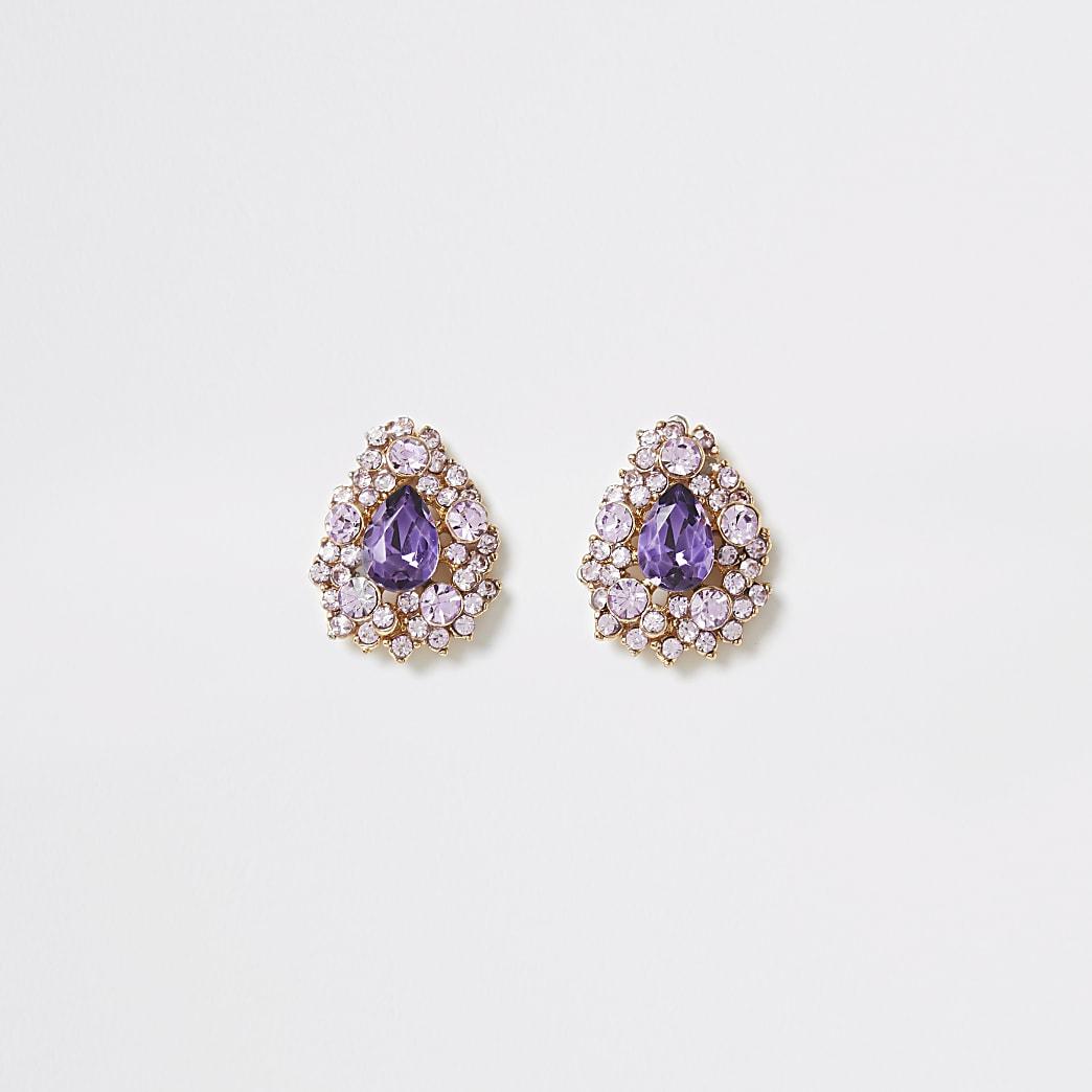 Pink diamante teardrop stud earrings