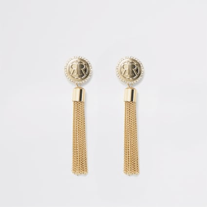 Gold colour RI tassel stud earrings