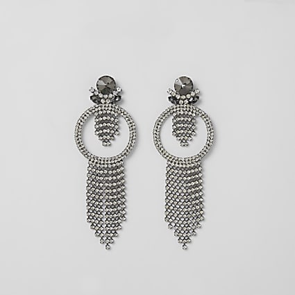 Grey diamante circle tassel drop earrings