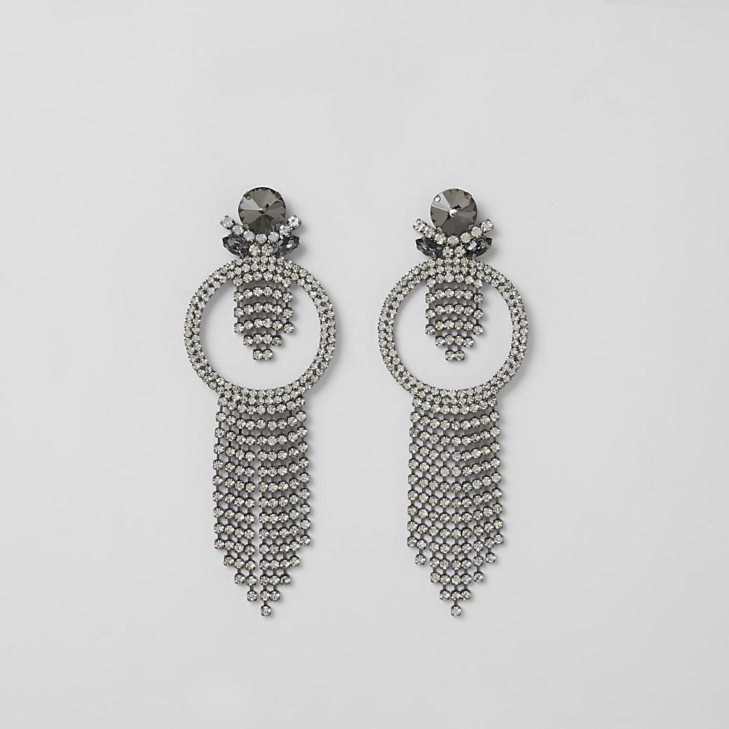 Grey diamante circle tassel drop earrings