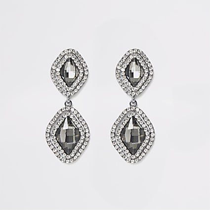 Grey jewel diamante paved drop earrings