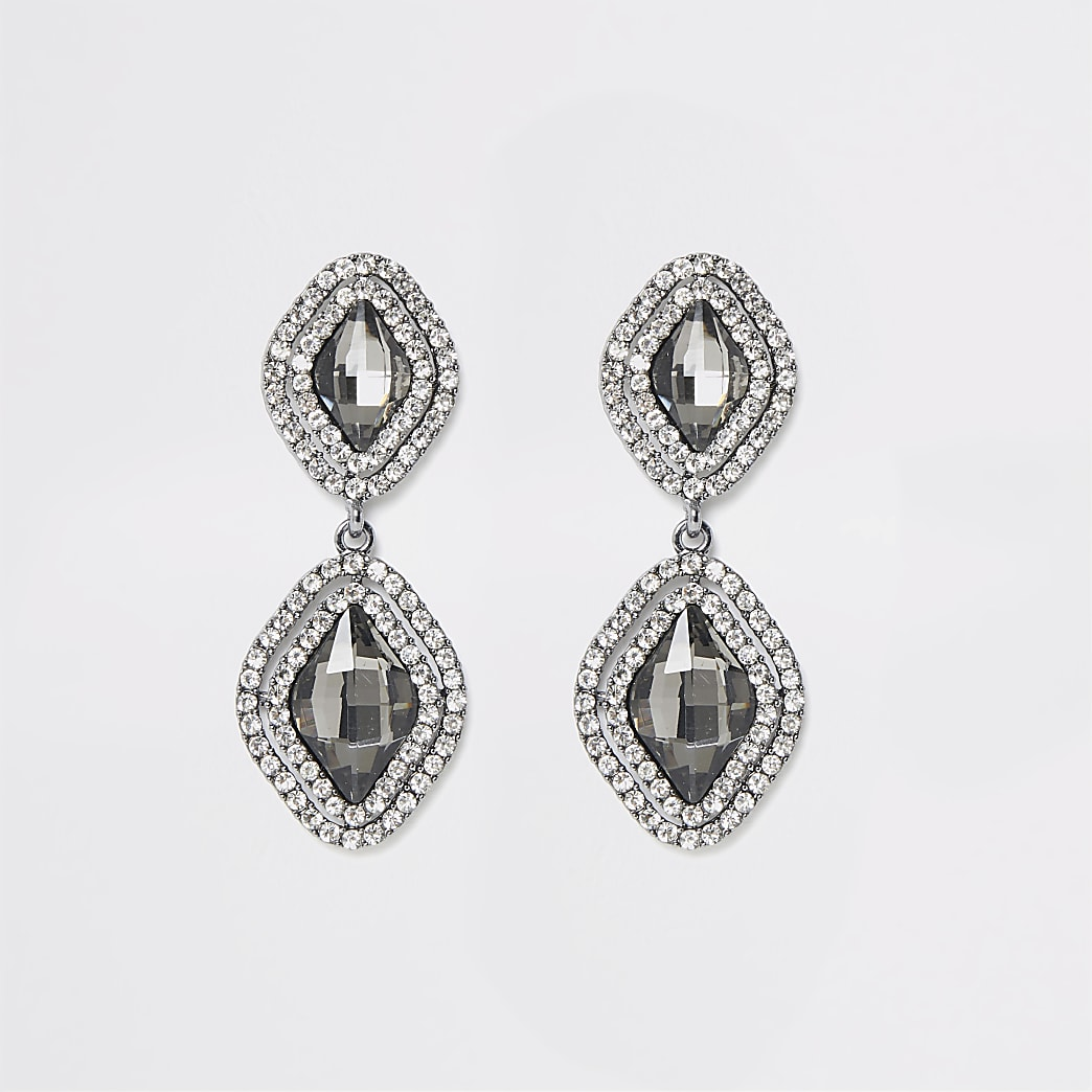 Grey jewel diamante paved drop earrings