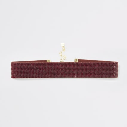 Red diamante embellished choker necklace