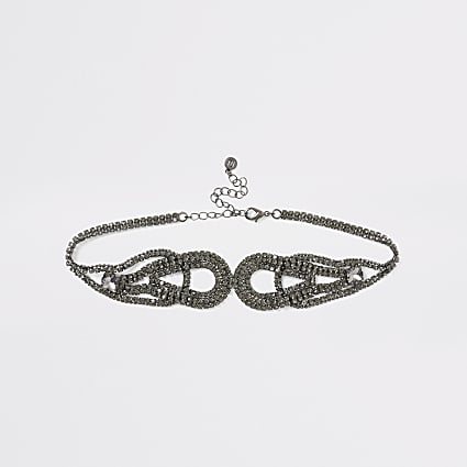 Grey diamante symmetrical loop choker