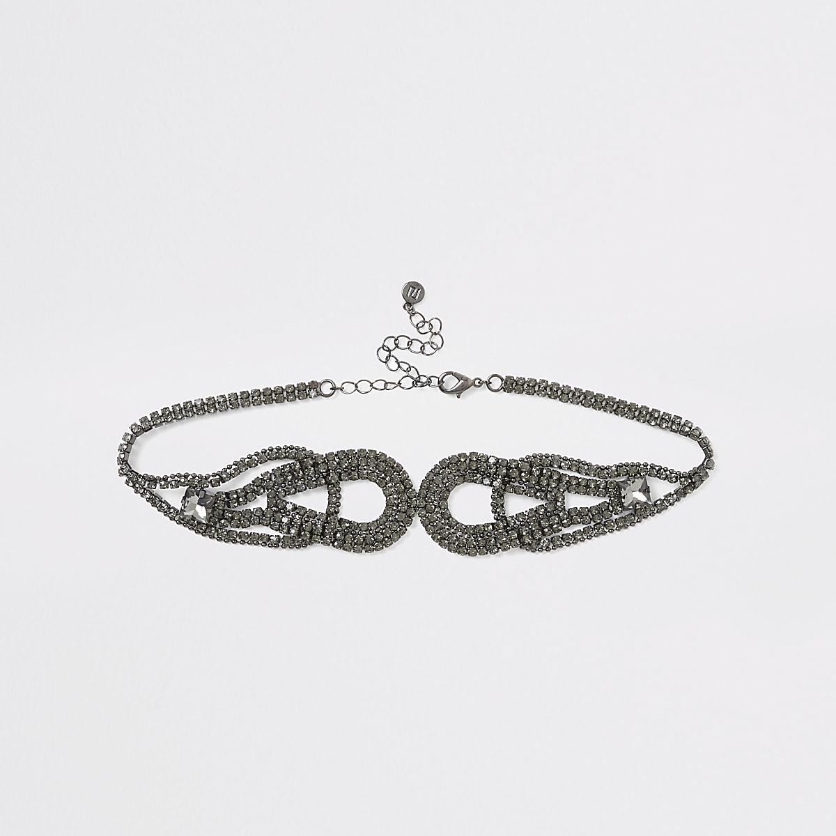 Grey diamante symmetrical loop choker