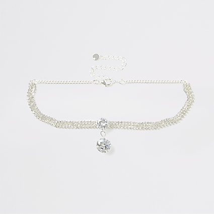 Silver colour diamante stud choker necklace