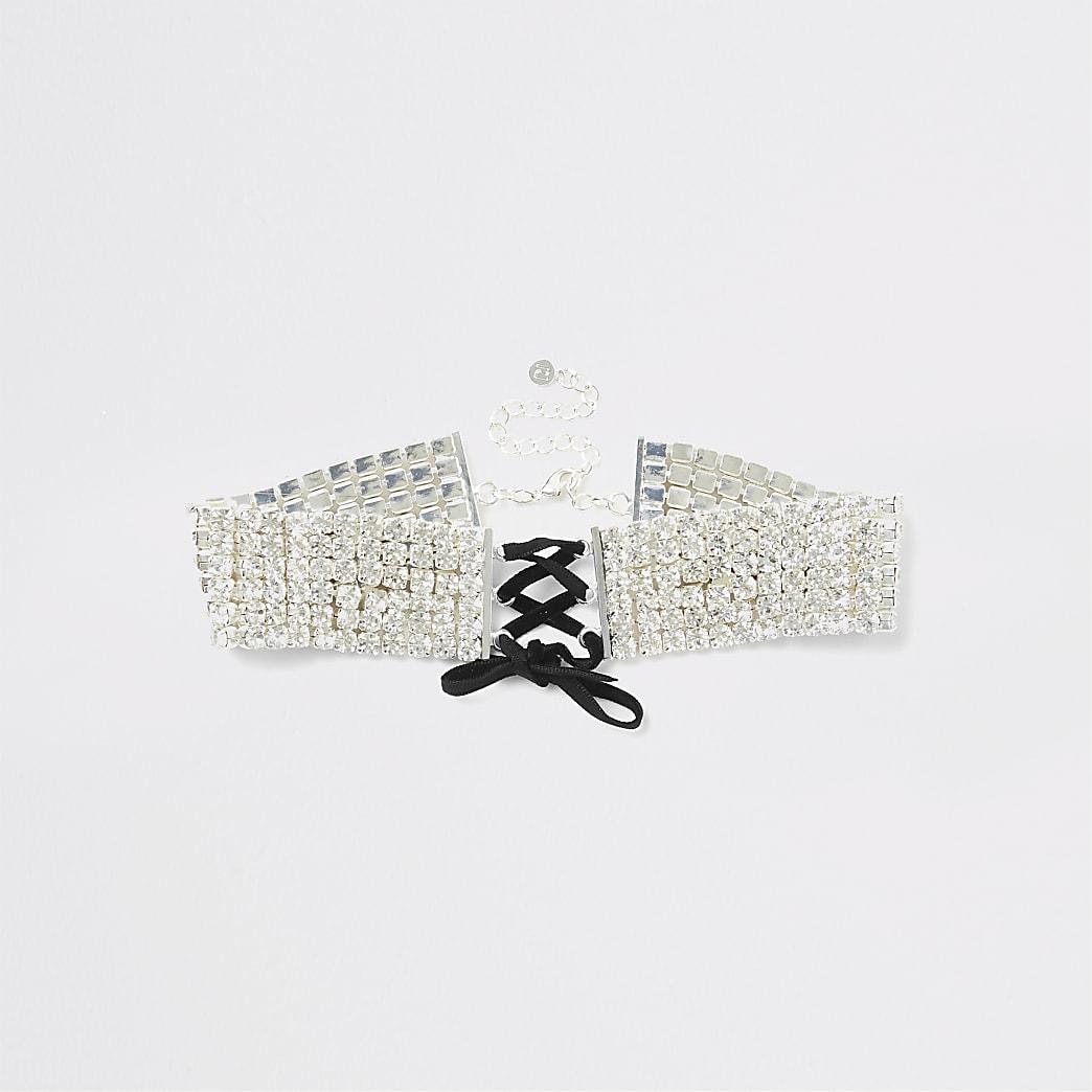 Silver colour diamante corset choker