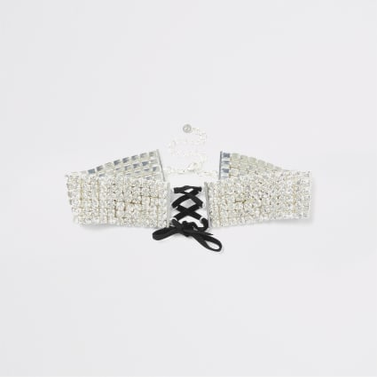 Silver colour diamante corset choker