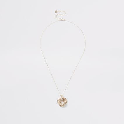 Rose gold colour twist knot necklace