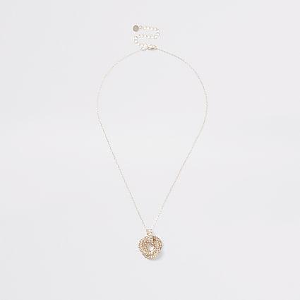 Rose gold colour twist knot necklace