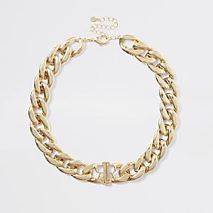 Goldfarbene RI-Halskette mit dicker Kette
