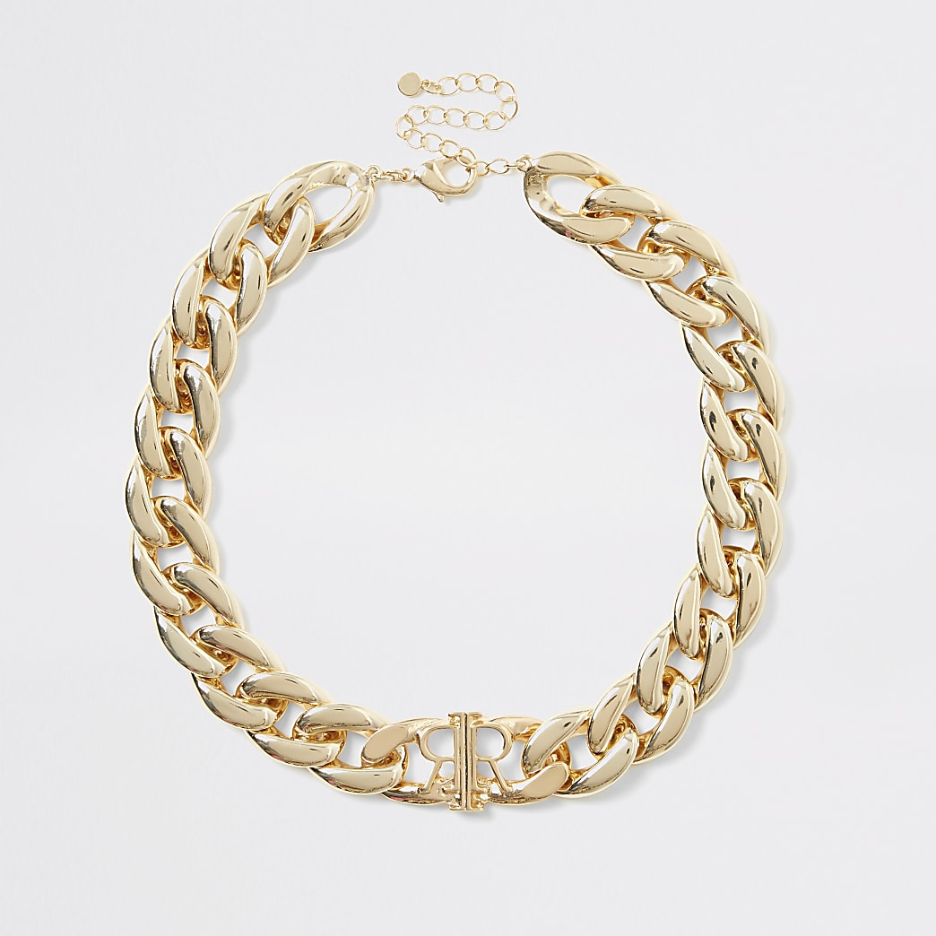 Gold colour chunky chain RI necklace