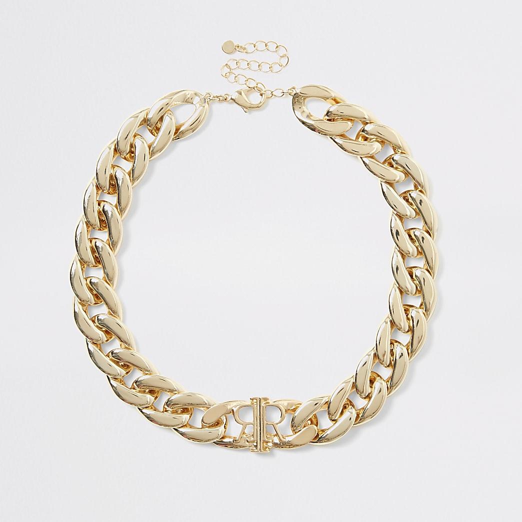 Collier RI avec chaîne dorée à gros maillons