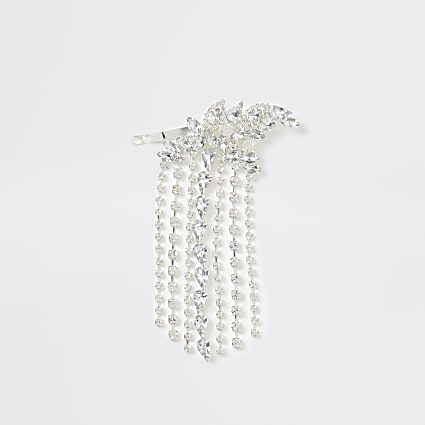 Silver colour diamante tassel hair clip